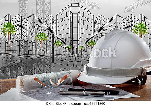 gebouw, helm, veiligheid, scène, pland, hout, architect, bestand, tafel, bouwsector, ondergaande zon  - csp17281360