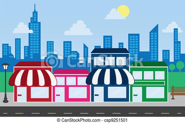 gebouwen, skyline, winkel, voorkanten - csp9251501