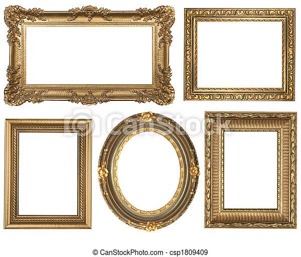 gedetailleerd, plein, goud, ouderwetse , ovaal, lijstjes, picure, lege - csp1809409