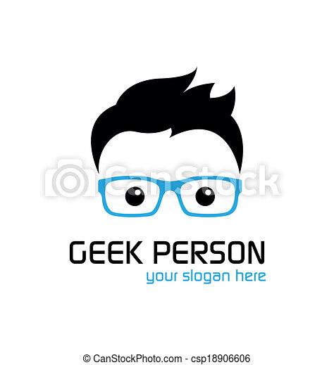 geek, logo, stijl, template. - csp18906606