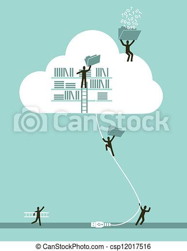 gegevensverwerking, wolk, concept, zakelijk - csp12017516