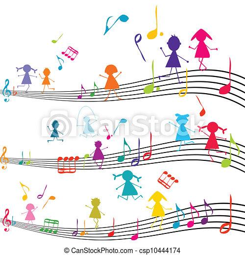 geitjes, opmerkingen, spelend, aantekening, muziek, muzikalisch - csp10444174