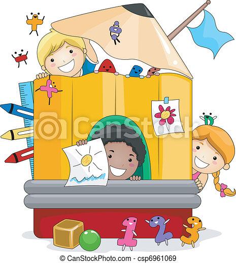 geitjes, spelend, preschool - csp6961069