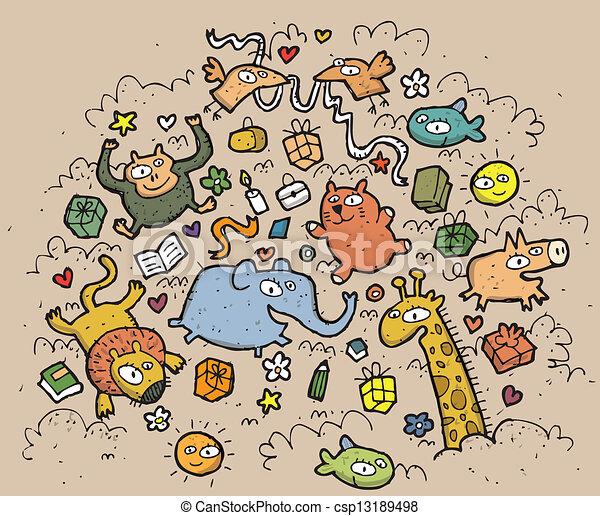 gekke , dieren, illustration., getrokken, objects:, hand, vector, illustratie, mode!, eps10, samenstelling - csp13189498