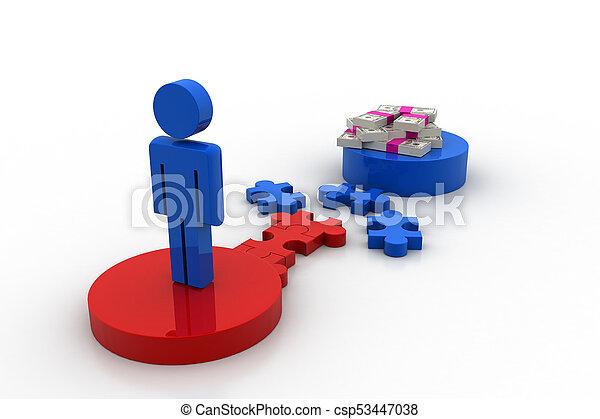 geld, puzzelstuk, man, 3d - csp53447038
