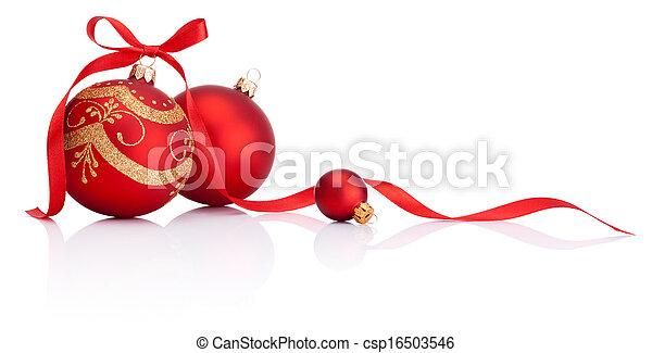 gelul, vrijstaand, boog, versiering, lint, achtergrond, witte kerst, rood - csp16503546