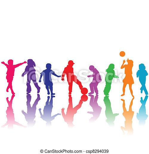 getrokken, silhouettes, hand, spelende kinderen - csp8294039