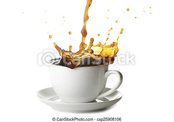 gietende koffie, kop - csp25908106