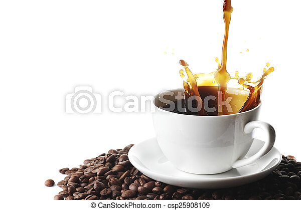 gietende koffie, kop - csp25908109