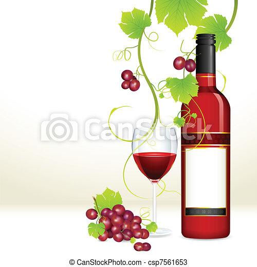 glas, druif, fles, wijntje - csp7561653