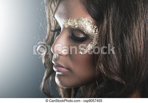 gouden, makeup, donker, studio, huid, verticaal - csp9057455