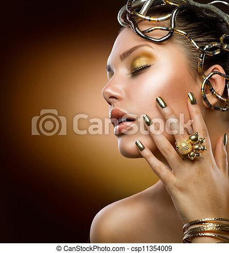 gouden, meisje, mode, makeup., verticaal - csp11354009