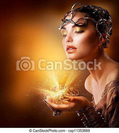 gouden, meisje, mode, portrait., makeup - csp11353669