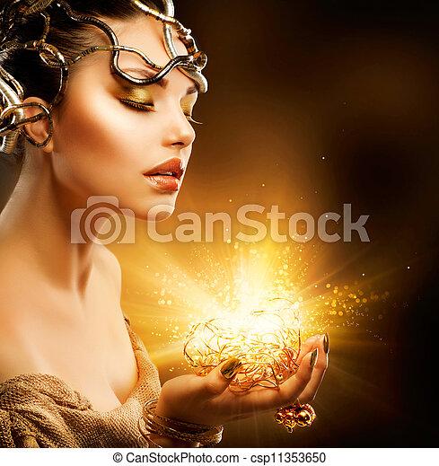 gouden, meisje, mode, portrait., makeup - csp11353650
