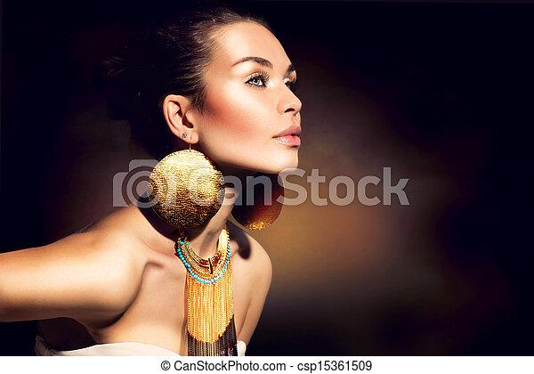 gouden, vrouw, makeup, jewels., mode, portrait., modieus - csp15361509