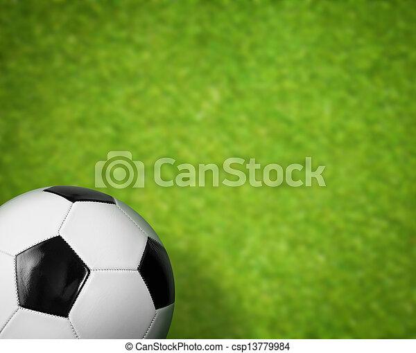 gras veld, bal, groene achtergrond, voetbal - csp13779984
