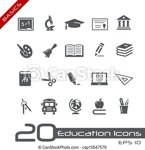 //, grondbeginselen, opleiding, iconen - csp10547579