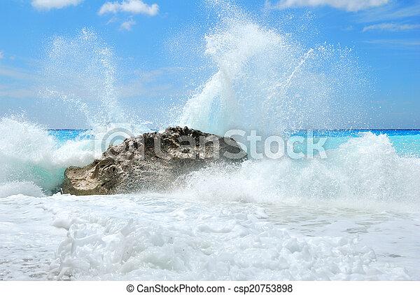 groot, verbreking, oever, golf, hoog, verpulveren, zee, rotsen - csp20753898