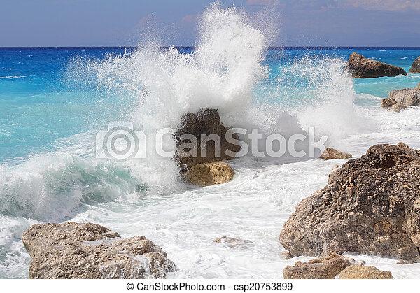 groot, verbreking, oever, golf, hoog, verpulveren, zee, rotsen - csp20753899
