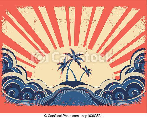 grunge, eiland, paradijs, papier, achtergrond, zon - csp10363534