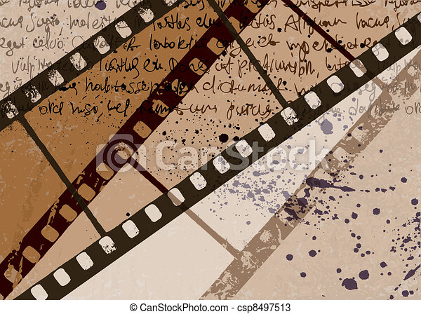 grunge, frame, eps10., achtergrond., vector, textured, abstract, film - csp8497513