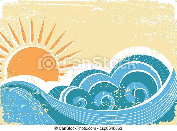 grunge, ouderwetse , illustratie, vector, waves., zee, landscape - csp6548063