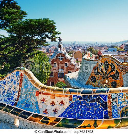 guell, barcelona, -, park, spanje - csp7621793