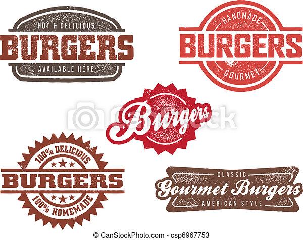 hamburger, stijl, postzegels, classieke - csp6967753