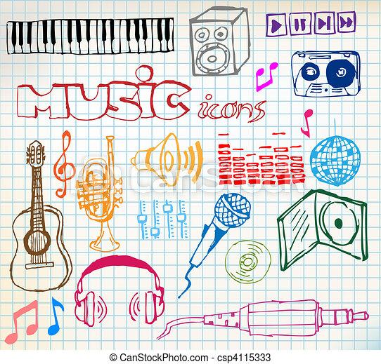 hand-drawn, muziek, iconen - csp4115333