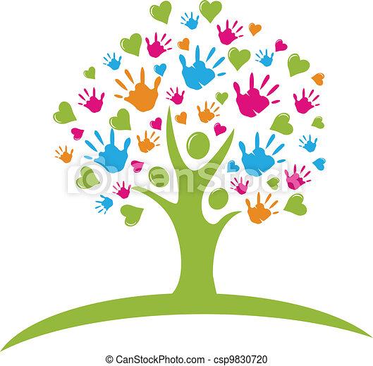 handen, hartjes, boompje, figuren - csp9830720