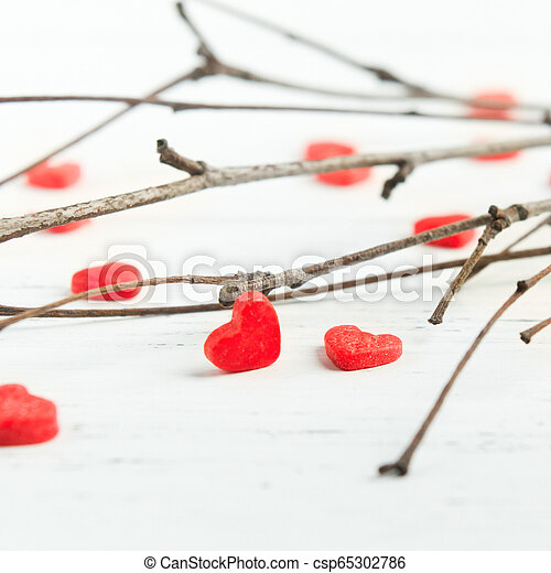 hart, concept, liefde, takken, zoet, closeup, gezondheid, rood, aanzicht - csp65302786