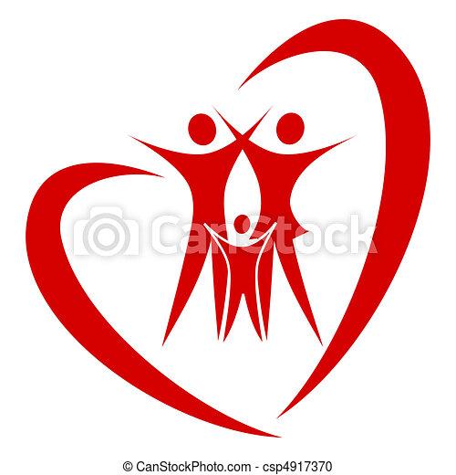 hart, vector, gezin - csp4917370