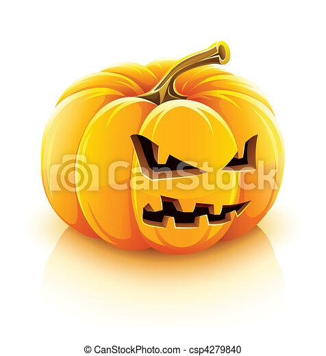 hefboom-o-lantaarn, boos, halloween, pompoen - csp4279840