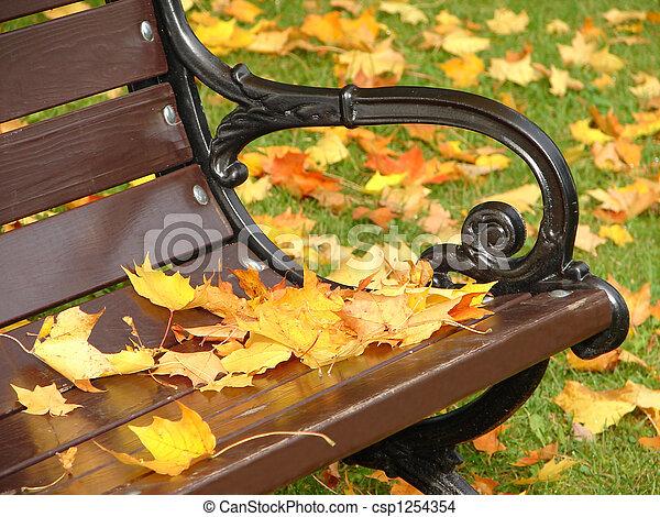 herfst, afsluiten, park, op, bankje - csp1254354
