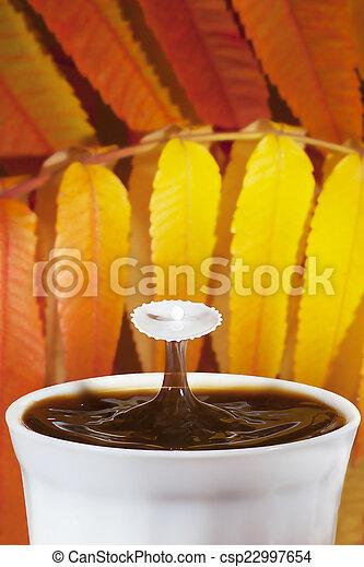 herfst, koffie, gespetter, melk - csp22997654
