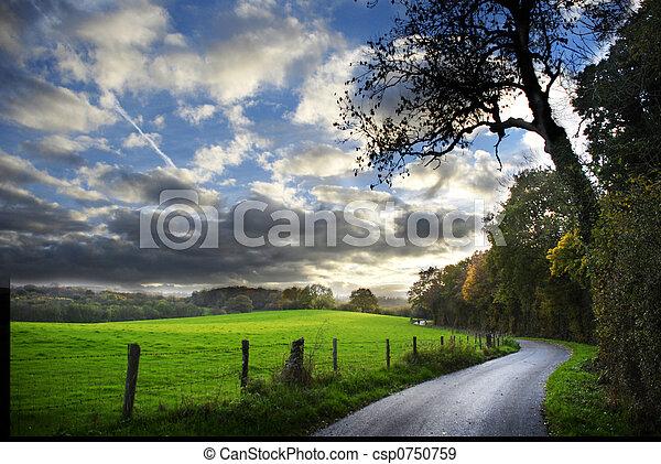 herfst, plattelandsweg - csp0750759