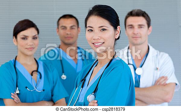 het glimlachen, fototoestel, team, medisch - csp2818379