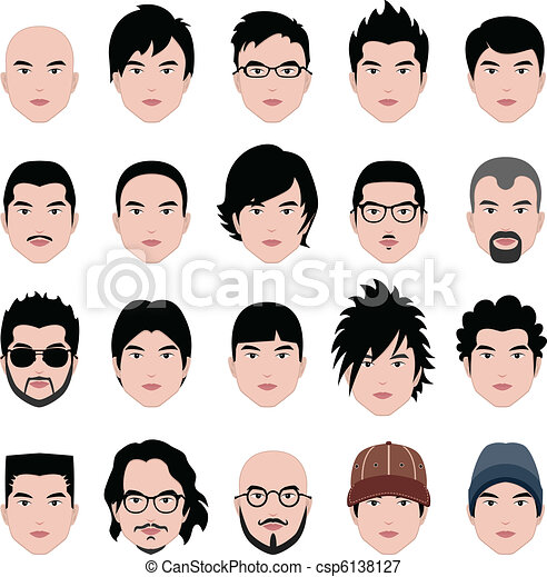 hoofd, hairstyle, gezicht, haar, mannelijke , man - csp6138127