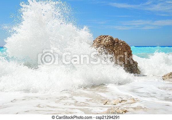 hoog, groot, water nevel, gespetter, zee - csp21294291