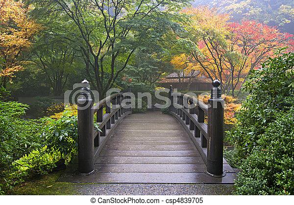 houten brug, japanse tuin, herfst - csp4839705