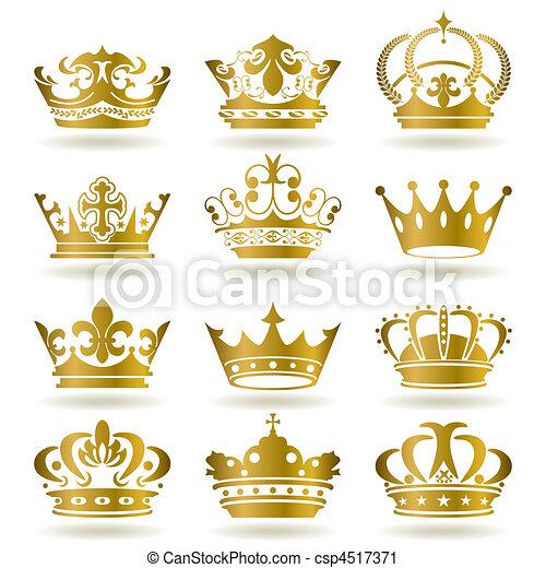 iconen, set, gouden kroon - csp4517371
