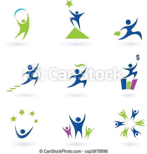 iconen, succes, sociaal, zakelijk - csp3978898