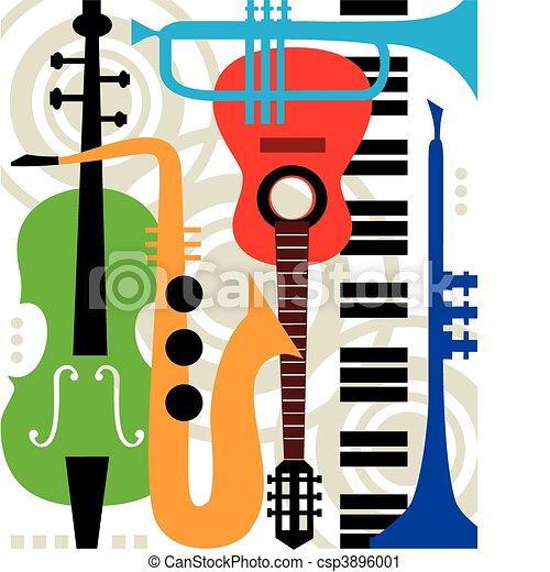 instrumenten, abstract, vector, muziek - csp3896001