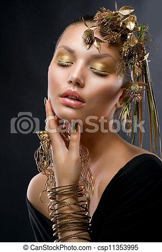 jewelry., gouden, mode, makeup, verticaal, model - csp11353995