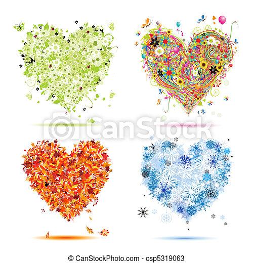 jouw, lente, winter., jaargetijden, -, herfst, zomer, kunst, hartjes, vier, ontwerp, mooi - csp5319063