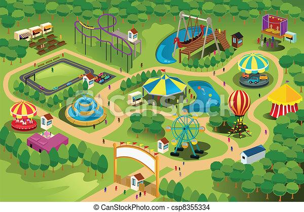 kaart, park, vermaak - csp8355334