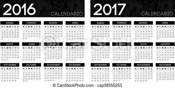 kalender, spaanse , black , textured - csp38555253