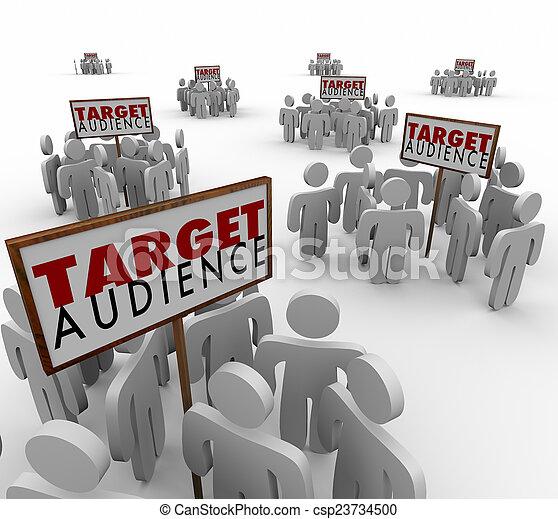 klanten, doel, demo, vooruitzichten, publiek, groepen, tekens & borden - csp23734500