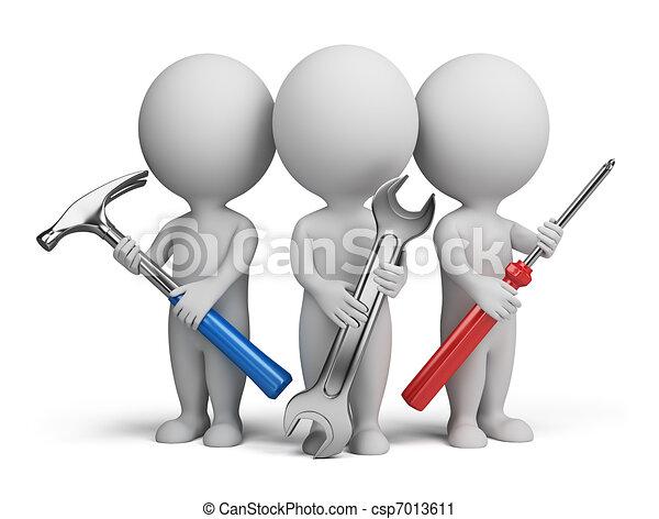 kleine, -, 3d, repairers, mensen - csp7013611
