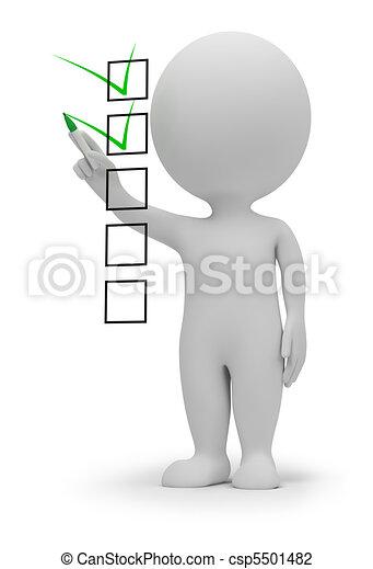 kleine, controlelijst, 3d, -, mensen - csp5501482